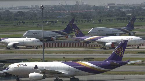 A file photo of Thai Airways planes on the tarmac at Suvarnabhumi Airport in Bangkok, Thailand.