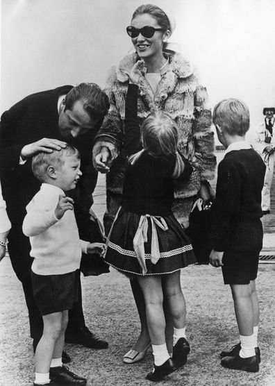 The couple are met by their children at Expo 1967 in Canada, Brussels Airport, Belgium, 17th May 1967.