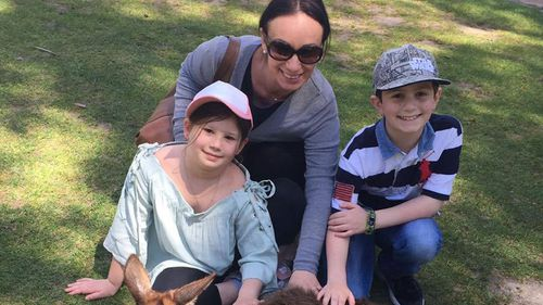 Chantelle and her family enjoying the school holidays on Wednesday before the dash to the hospital (Supplied).