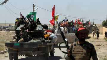 Members of the Iraqi pro-government Hashed al-Shaabi (Popular Mobilisation) paramilitary forces. (AFP)