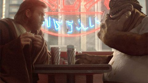 Obi-Wan Kenobi (Ewan McGregor) and Dexter Jettster in Star Wars Episode 2