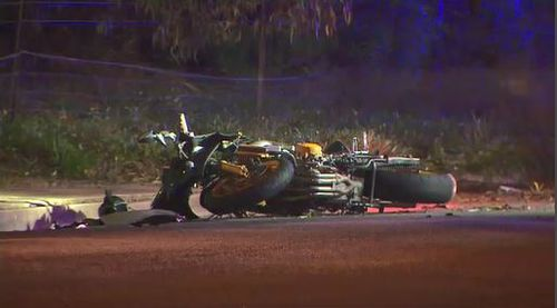 Parts of the motorcycle were found strewn across the road. Image: 9News