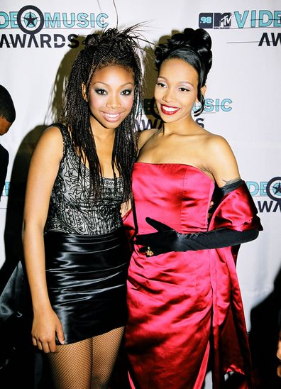 Brandy and Monica during 1998 MTV Video Music Awards at Universal Amphitheatre in Los Angeles, California, United States.