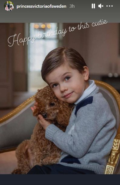 Prince Oscar of Sweden poses with his puppy for his fifth birthday portraits