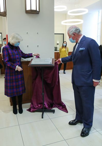 Prince Charles, Prince of Wales and Camilla, Duchess of Cornwall visit The Queen Elizabeth Hospital on February 17, 2021 in Birmingham, England