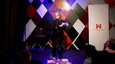 """Gloria Steinem performs at """"Laughter is the Best Resistance"""" at Carolines on Broadway in New York City. (AAP)"""