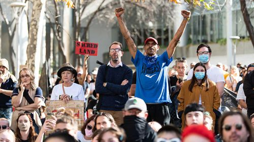 Demonstrators outside the Rio Tinto offices in Perth protesting the destruction of the Juukan rock shelters.
