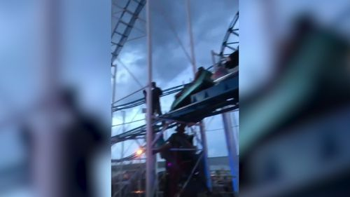 Two people were left dangling after a rollercoaster derailed in the US.
