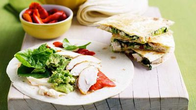 "Recipe: <a href=""http://kitchen.nine.com.au/2016/05/16/16/04/chicken-and-avocado-quesadillas"" target=""_top"">Chicken and avocado quesadillas</a>"