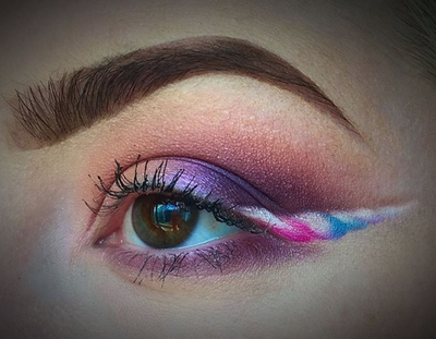 <p>The unicorn trend was everywhere in 2016 with multi-coloured eyeshadow palettes and eye pencils popping up all over. Those who were truly committed to the trend took it that one step further, swapping their regular cat eye liner for unicorn-horned inspired wings.</p> <p>Love it? For a fancy dress party yes. For regular life - not so much.</p> <p>Image: Instagram/@Krissiikiwii</p>