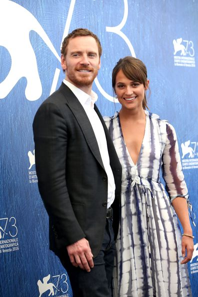 Alicia Vikander and Michael Fassbender attend a photocall for The Light Between Oceans in 2016.