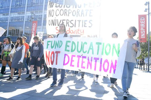 Students protest the government's university funding cuts at the University of Sydney in May. (AAP)