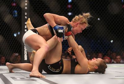Holm claimed victory when she delivered a brutal kick to the face.