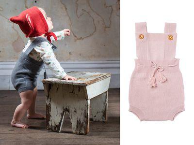 """<a href=""""https://www.acornkids.com.au/collections/infants-range/products/secret-garden-cashmere-romper-pink"""" target=""""_blank"""">Secret Garden Cashmere Rompers, $99.95.</a>"""