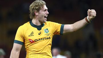 Australia's Ned Hanigan gestures following during the Bledisloe rugby test between Australia and New Zealand at Suncorp Stadium, Brisbane, Australia, Saturday, Nov.7, 2020