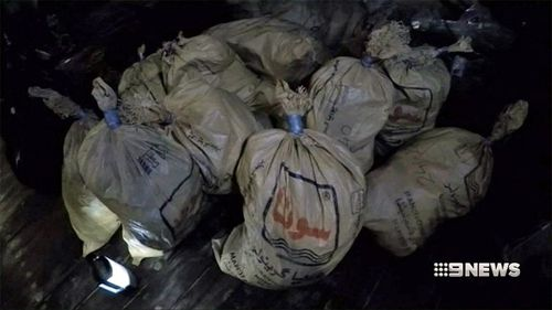 The 414kg of heroin was picked up in February. (9NEWS)
