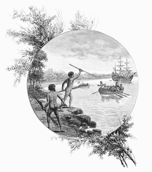 A wood engraving of Indigenous warriors opposing Captain Cook's landing, 1886.