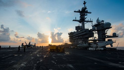 Aircraft carrier USS Carl Vinson in the South China Sea during April, 2017 (AAP)