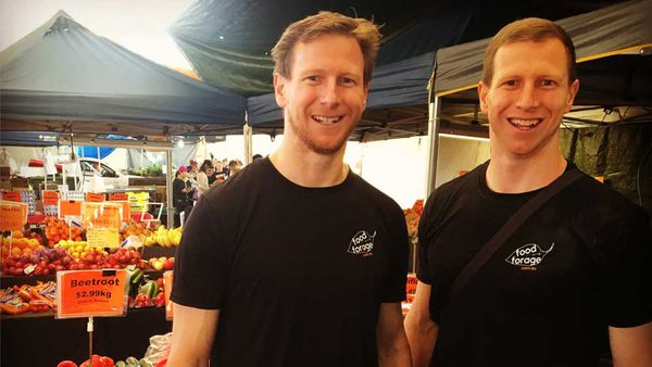 Two of Food Forage's creators, Ben and Carey Fell, talking to local producers. Image: Supplied