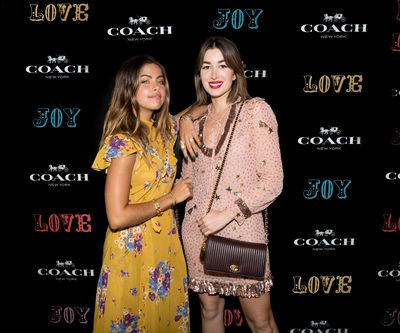 Mimi Elashiry and Carmen Hamilton at the Coach launch, Sydney.