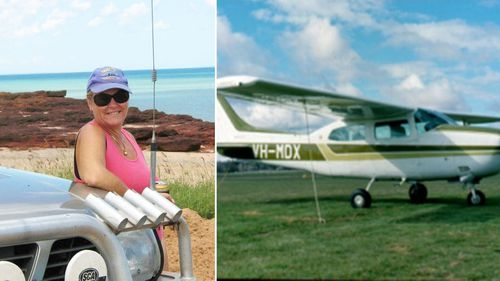 Ken Price's daughter Merrilea Kleins (left) and the Cessna her father was travelling in.