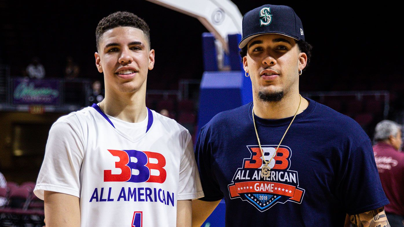 LaMelo Ball (L) and LiAngelo Ball (R) pose after the Big Baller Brand All American Game at the Orleans Arena