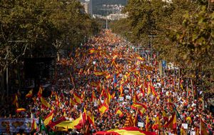 Tens of thousands march in Barcelona in protest of Catalonia separatist movement
