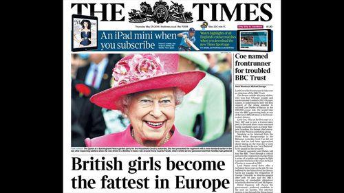 UK newspaper calls Queen fat