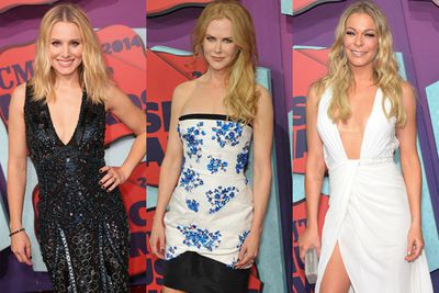 Although our fave country music stars battled it out today for a bunch of gongs at the 2014 CMT Awards, we think the real contest kicked off on the red carpet hours before… between Kristen Bell and LeAnn Rimes' boobs. <br/><br/>While the perky pair posed on the red carpet, stars like Nicole Kidman and Brooklyn Decker sashayed their way into the awards... stopping for selfies along the way. <br/><br/>TheFIX only picked one major (tan) faux pas... but can you guess who the celeb offender was? Click through to find out... <br/>