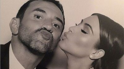 Kim and Riccardo Tisci, who worked on her Givenchy Haute Couture wedding gown (Instagram).