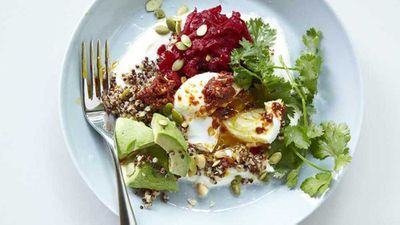 "<a href=""http://kitchen.nine.com.au/2017/04/19/11/05/bills-buckwheat-bowl-with-poached-egg"" target=""_top"">Bills buckwheat bowl, poached egg, goat's yogurt and rose harissa</a> recipe"