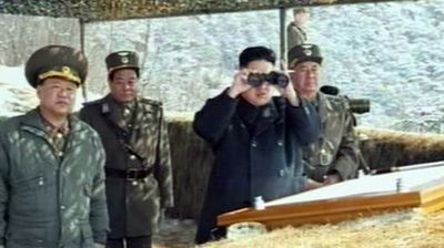 The Dear Leader observing a military exercise (Getty).
