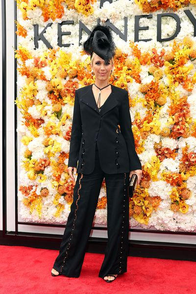 Bec Hewitt in a suit from Sass & Bide and millinery fromMatcho Suba The Label