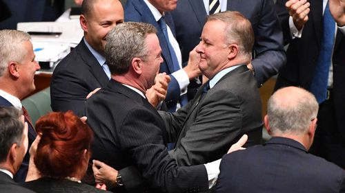 Christopher Pyne is farewelled by Labor's Anthony Albanese.