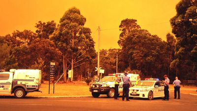 Firefighters and emergency services deployed as ash began to fall on Northcliffe. (9NEWS)