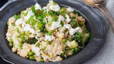 "Recipe: <a href=""http://kitchen.nine.com.au/2016/08/31/14/46/goats-cheese-and-asparagus-risotto"" target=""_top"">Goat's cheese and asparagus risotto</a>"