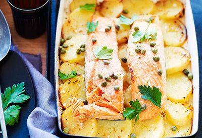Roast salmon on potatoes