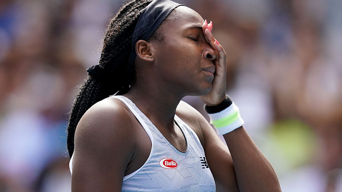 Coco Gauff of the USA reacts during her fourth round match against Sofia Kenin