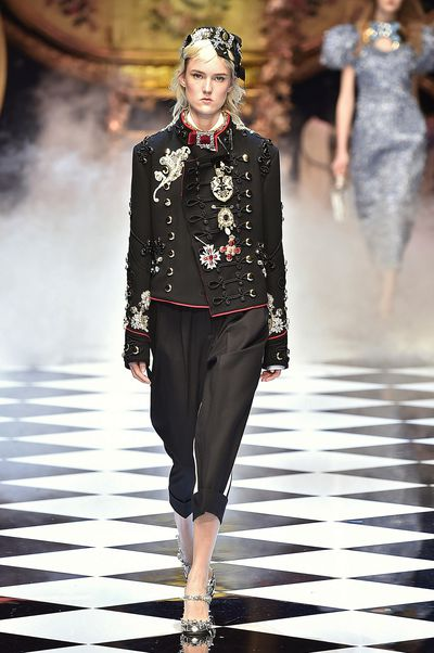 Dolce & Gabbana celebrated fairytales at Milan Fashion Week, creating a wonderland set filled with carriages and chandeliers for its fall 2016 collection. The clothes referenced storybook motifs from Sleeping Beauty, Cinderella and Snow White, conveying the sentiment that all girls are princesses.