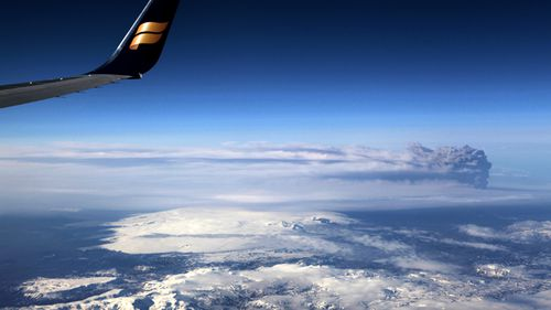 Seen from an Icelandair B-757 climbing out of Reykjavik taking a large detour from the erupting Eyjafjallajokull on May 16, 2010 in Reykjavik, Iceland. In the foreground, the glacier dome of sleeping giant volcano Katla. (Getty)