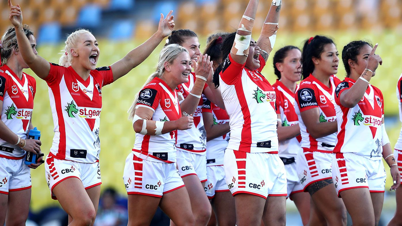 The Dragons celebrate on full time during the round 2 NRLW match against the New Zealand Warriors