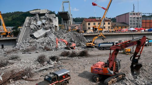 The cleanup operation after the Morandi Bridge disaste