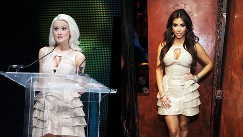 Holly's won a trophy but Kim's worn the dress!