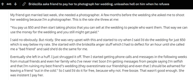 Reddit threat bride demands to be paid by wedding photographer