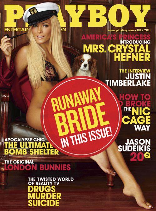 Cover of Playboy in June 2011 featuring Crystal Harris, Hefner's most recent girlfriend. (AAP)