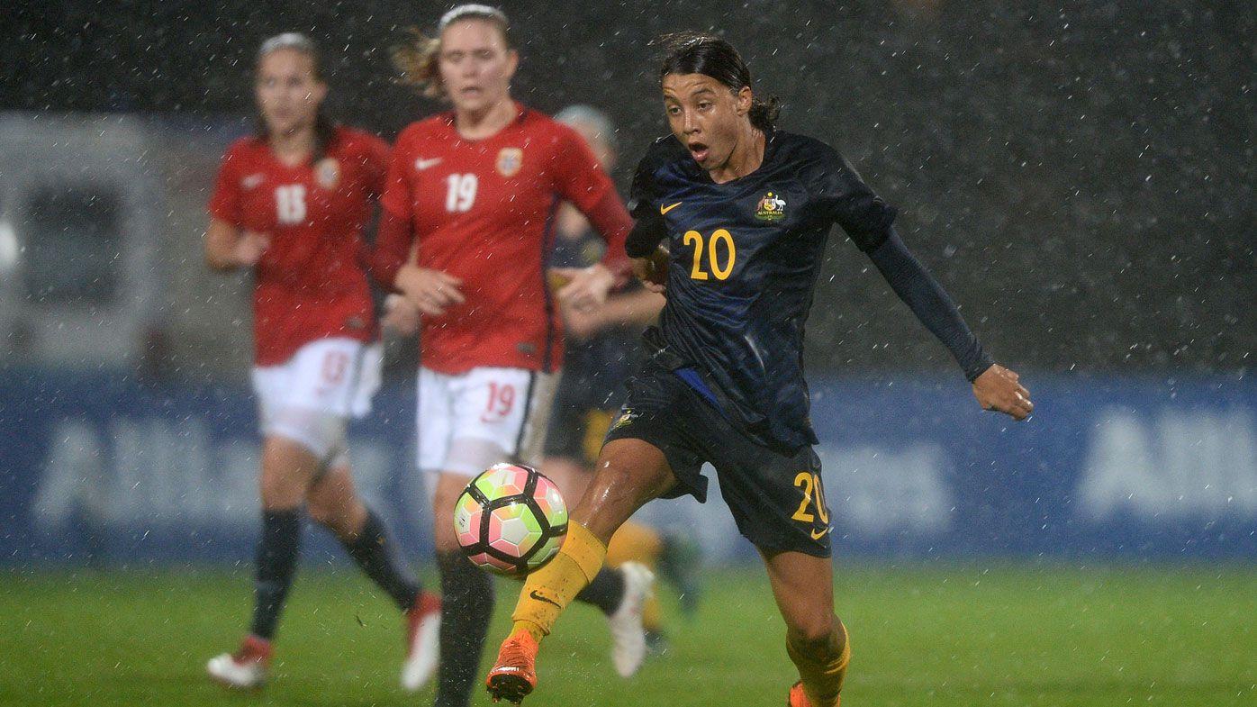 Matildas win seven-goal stunner against Norway in Algarve Cup with Sam Kerr breaks record