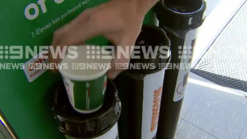 The recycling bins will be installed at 7-Eleven outlets across the country. (9NEWS)