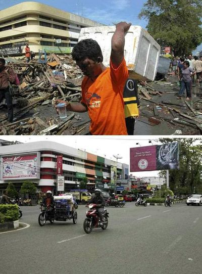 Tsunami survivors walking trough damage at Panglima Polem Street near Peunayoung neighbourhood on 26 December 2004 and a view of the same area on 16 December 2014 (bottom), in Banda Aceh, Indonesia. (EPA)