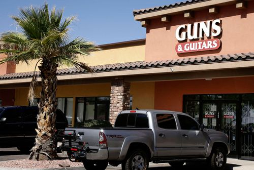 The Guns and Guitars store in Mesquite, where Stephen Paddock is believed to have bought some of the weapons he used to kill 59 people in Las Vegas.