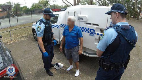 Police stopped the 71-year-old man at a reserve in Lindfield and placed him under arrest.